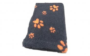 Hundedecke (Vet Bed)  100 x 75cm anthrazit mit Pfoten orange